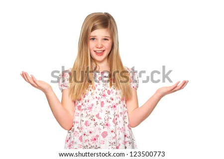 young girl confused with hands up - stock photo