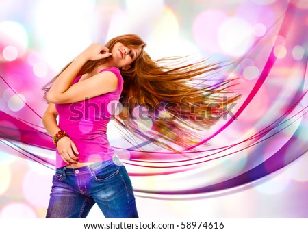 young girl dancing in discolight - stock photo