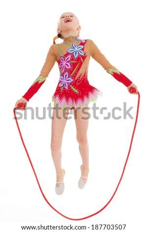 Young girl doing gymnastics.Isolated on white background. - stock photo