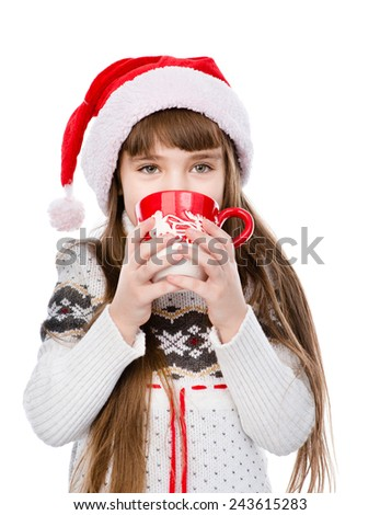 young girl enjoying big mug of hot drink. isolated on white background - stock photo
