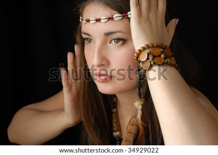Young girl, ethnic suit, squaw. - stock photo