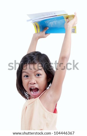 Young girl expressing emotion of anger. - stock photo