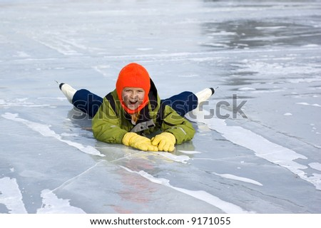 Young Girl Falls Learning to Skate - stock photo