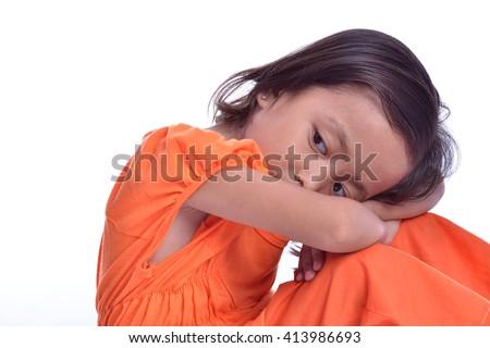Young girl feeling Sad - stock photo