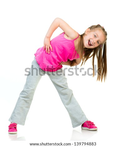 young girl gymnast isolated on a white background - stock photo