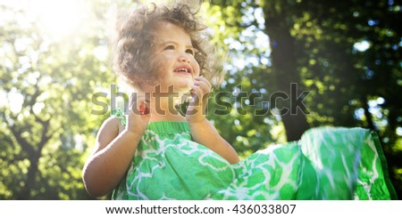 Young Girl Happiness Summer Holiday Vacation Nature Concept - stock photo
