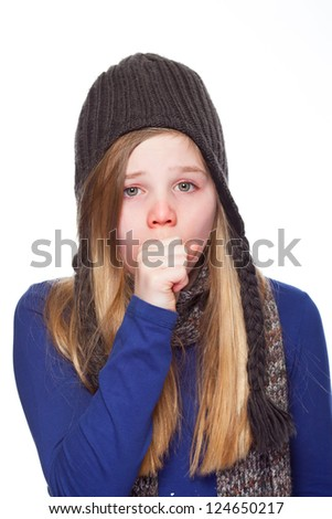young girl having a cold - stock photo