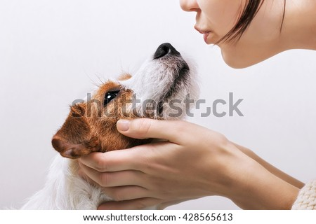 Young girl holding and kissing his dog Jack Russell Terrier. Positive human emotions, facial expression, feelings - stock photo