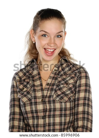 young girl in a checkered shirt - stock photo