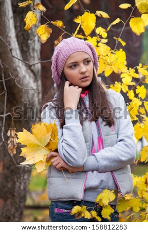 Young girl in a park in autumn with yellow leaves - stock photo