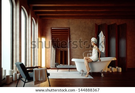 young girl in bathroom with candles - stock photo