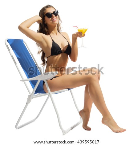 Young girl in bikini with coctail isolated - stock photo