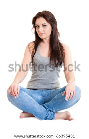 young girl in blue jean - stock photo