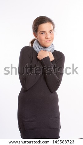 Young girl in her early teenage years - stock photo