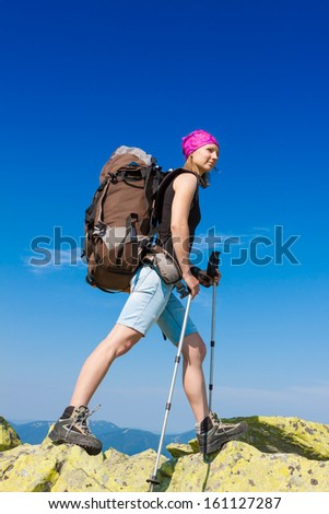 Young girl in hike - stock photo