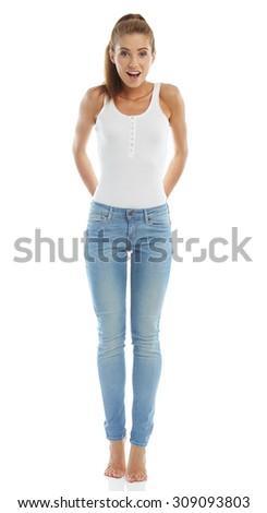 Young girl in jeans and a white t-shirt - stock photo
