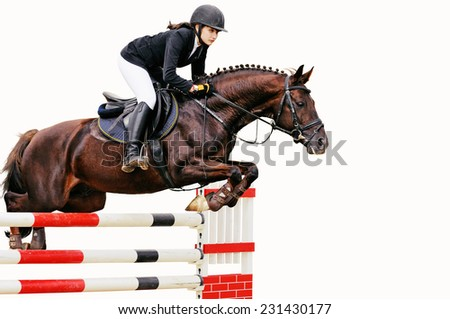 Young girl in jumping show, isolated on white background - stock photo