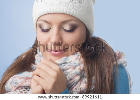 Young girl in knitted cap, European, White, Caucasian - stock photo