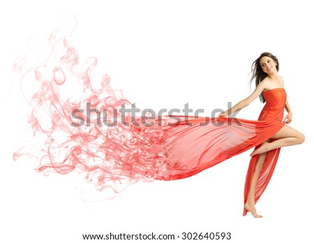 Young girl in long red cloth isolated (smoke version) - stock photo