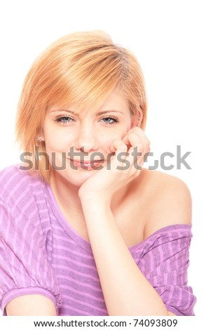 young girl in pink blouse on white background - stock photo