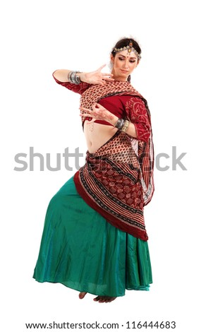 Young girl in the Indian national costume - stock photo