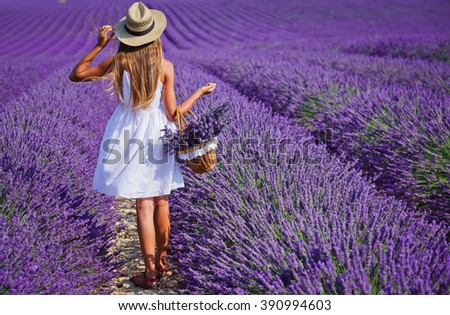 Young girl in the lavander fields - stock photo