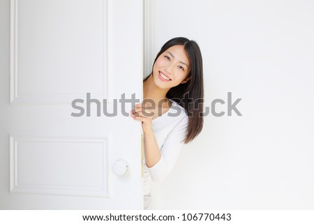 young girl introducing something - stock photo