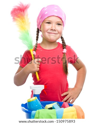 Young girl is dressed as a cleaning maid, holding static duster, isolated over white - stock photo