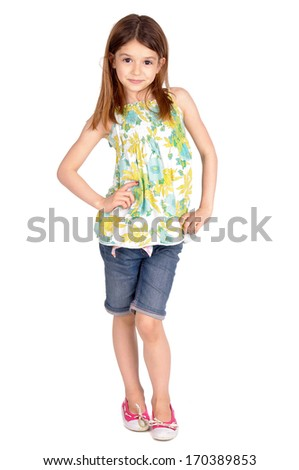 young girl isolated in white - stock photo