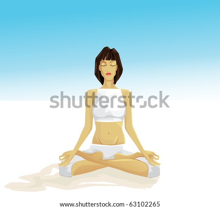 young girl meditating outdoor - stock photo