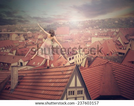 Young girl on top of the roof. Photo manipulation. Concept digital graphic - stock photo