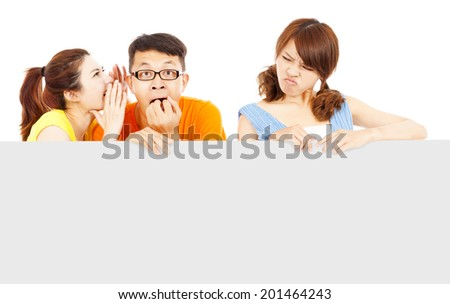 young girl people whisper about the woman funny event - stock photo