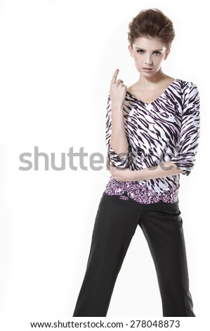 young girl posing-white background - stock photo