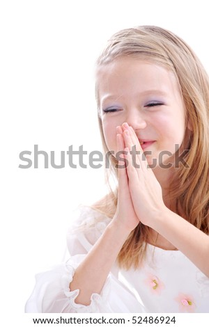 Young girl praying.Isolated on white background - stock photo