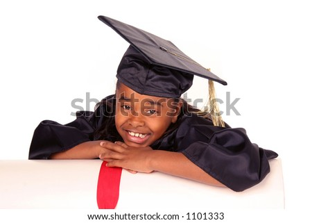 young girl resting on her diploma - stock photo
