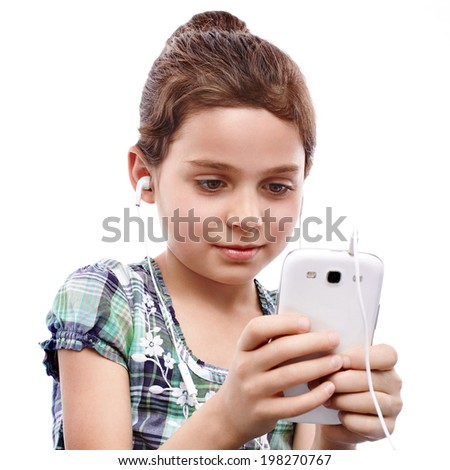 Young girl searching something on a smart phone - stock photo
