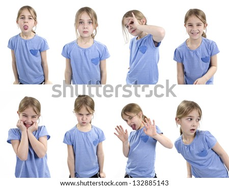 young girl showing set of emotions - stock photo