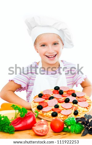 Young girl shows a pizza on a white background - stock photo
