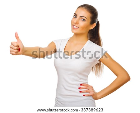 Young girl shows ok gesture isolated - stock photo