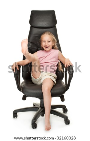 Young girl sitting on chair. Isolated on white background - stock photo