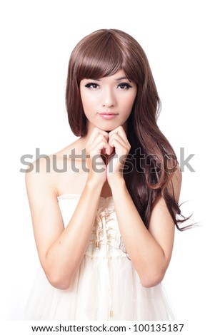 young girl smile and hand touch her face isolated on white background, model is a asian woman - stock photo