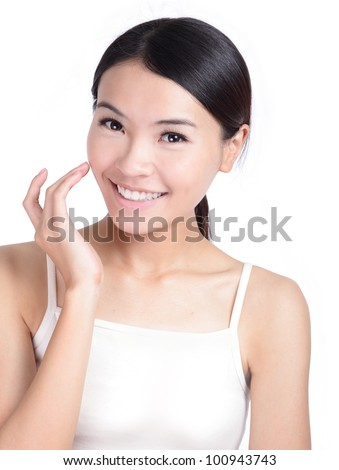 Young Girl Smile touch face with health skincare isolated on white background, model is a asian beauty - stock photo