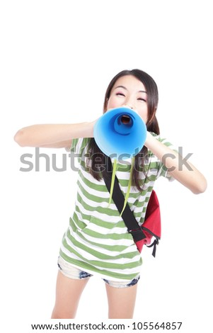 Young girl student yelling and talking to you through megaphone isolated on white background, model is a asian girl - stock photo
