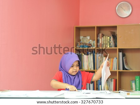 young girl studying  - stock photo