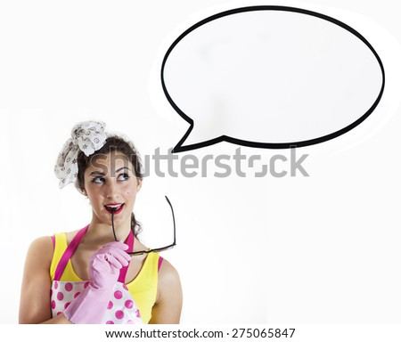 young girl thinks of something funny - copyspace in balloon - stock photo