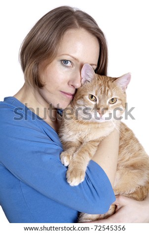 Young girl with a ginger cat on white background - stock photo