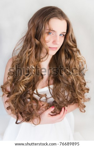 young girl with beautiful curls - stock photo