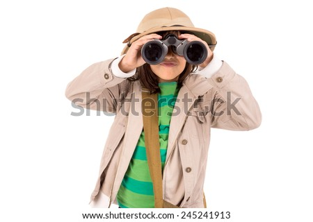 Young girl with binoculars playing Safari isolated in white - stock photo