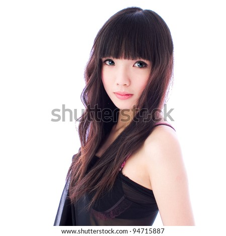 young girl with black hair - stock photo
