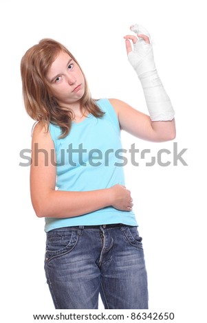 Young girl with broken arm. Insurance metaphor. - stock photo
